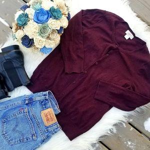 LOFT plum colored cardigan sweater medium